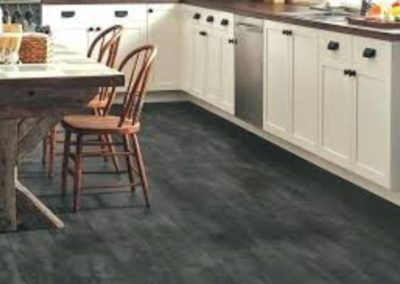 Black Slate effect vinyl tile cushion floor installation to Kitchen